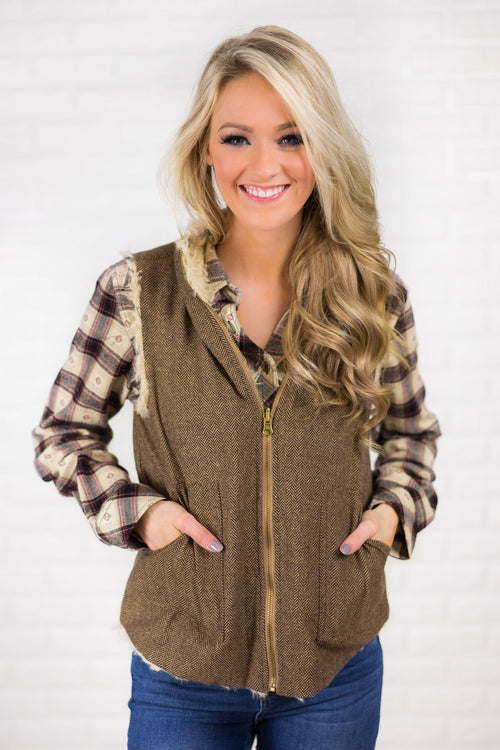 Tweed & Suede Zip Up Vest