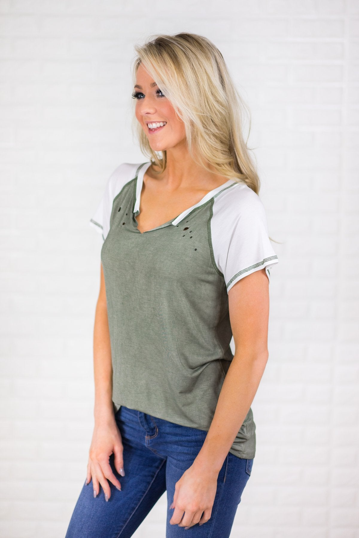 Feeling Holey Olive Top