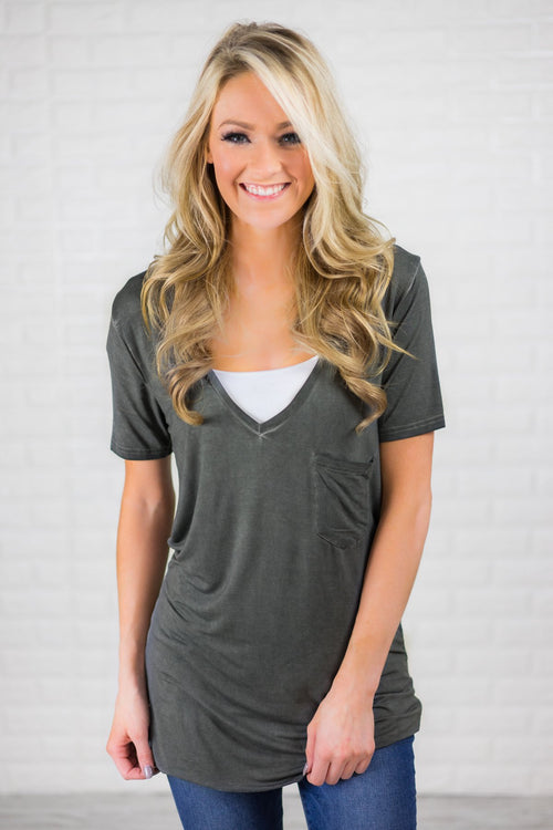 Lost in You Grey V-Neck Tee