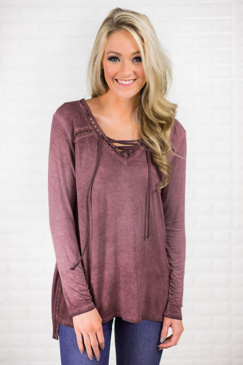 Plum Lace Up Long Sleeve Top
