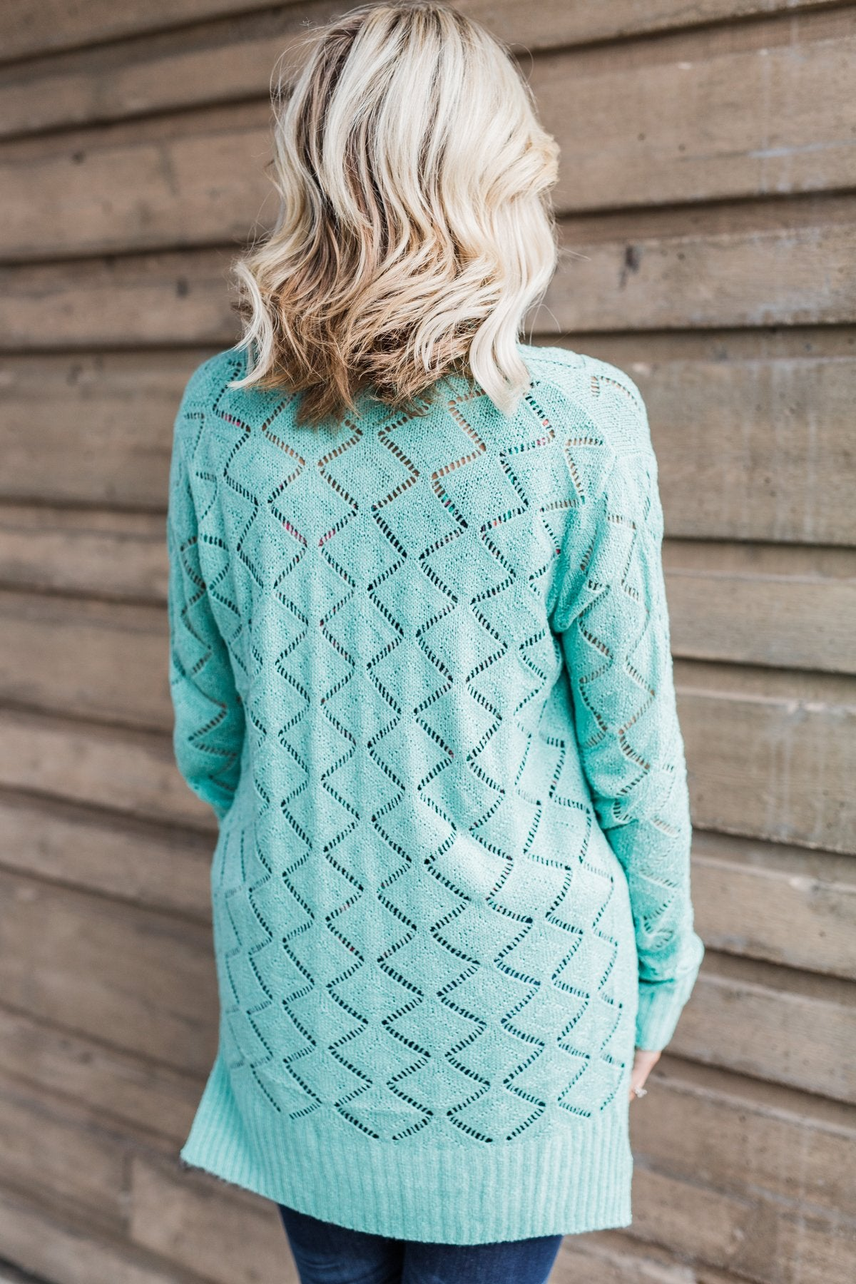 Knit Pointelle Cardigan - Teal