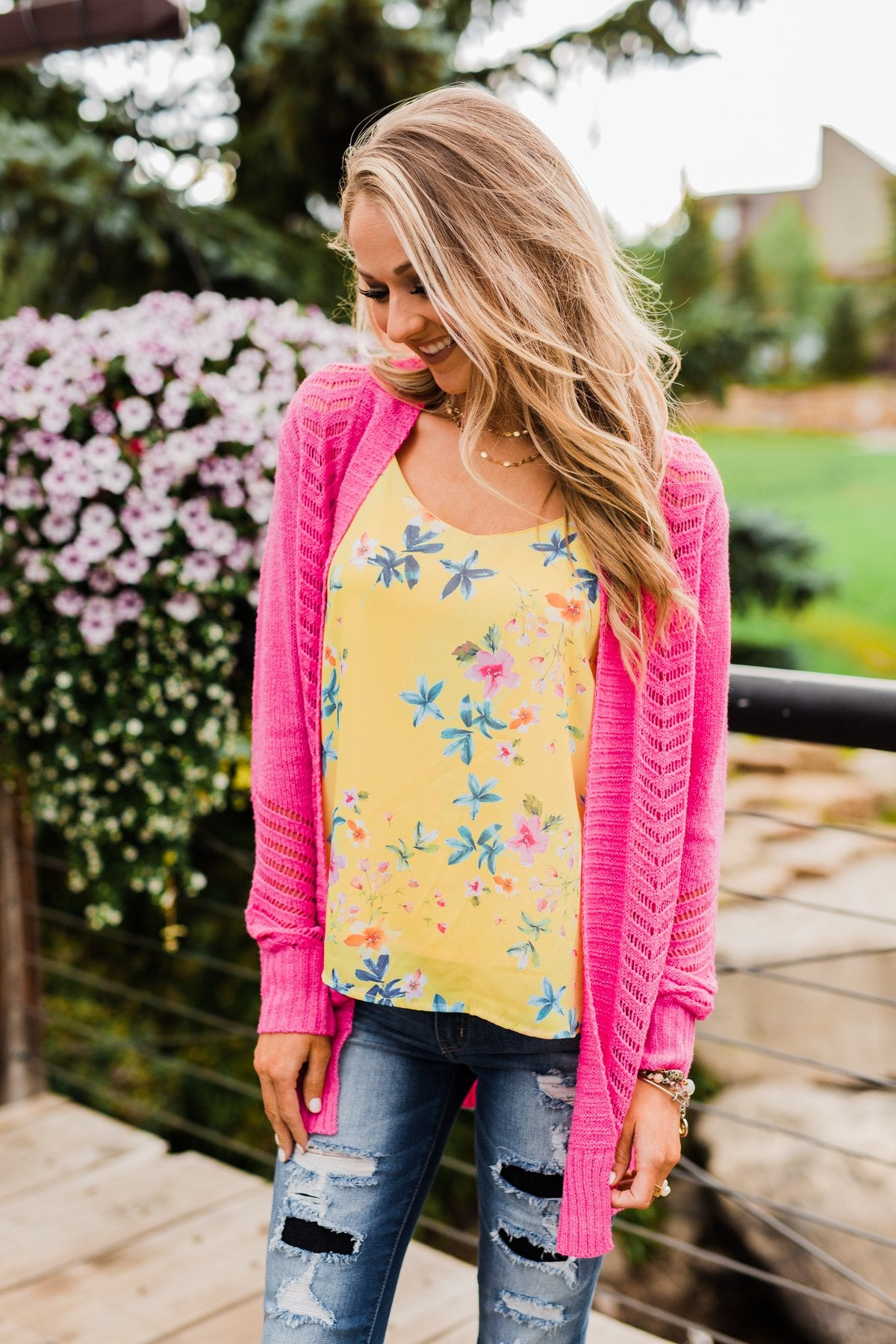 Bright and Beautiful Tank Top- Yellow & Pink