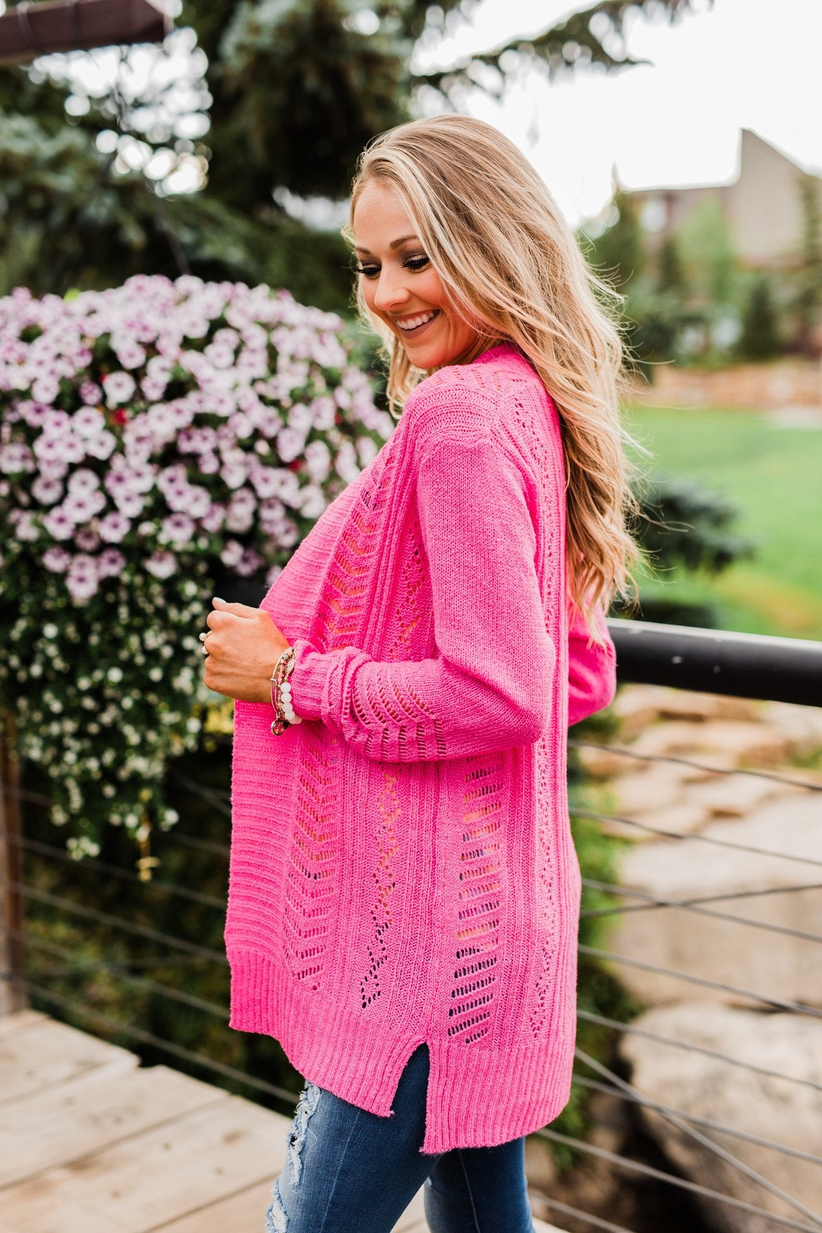 Open Front Pointelle Cardigan- Pink