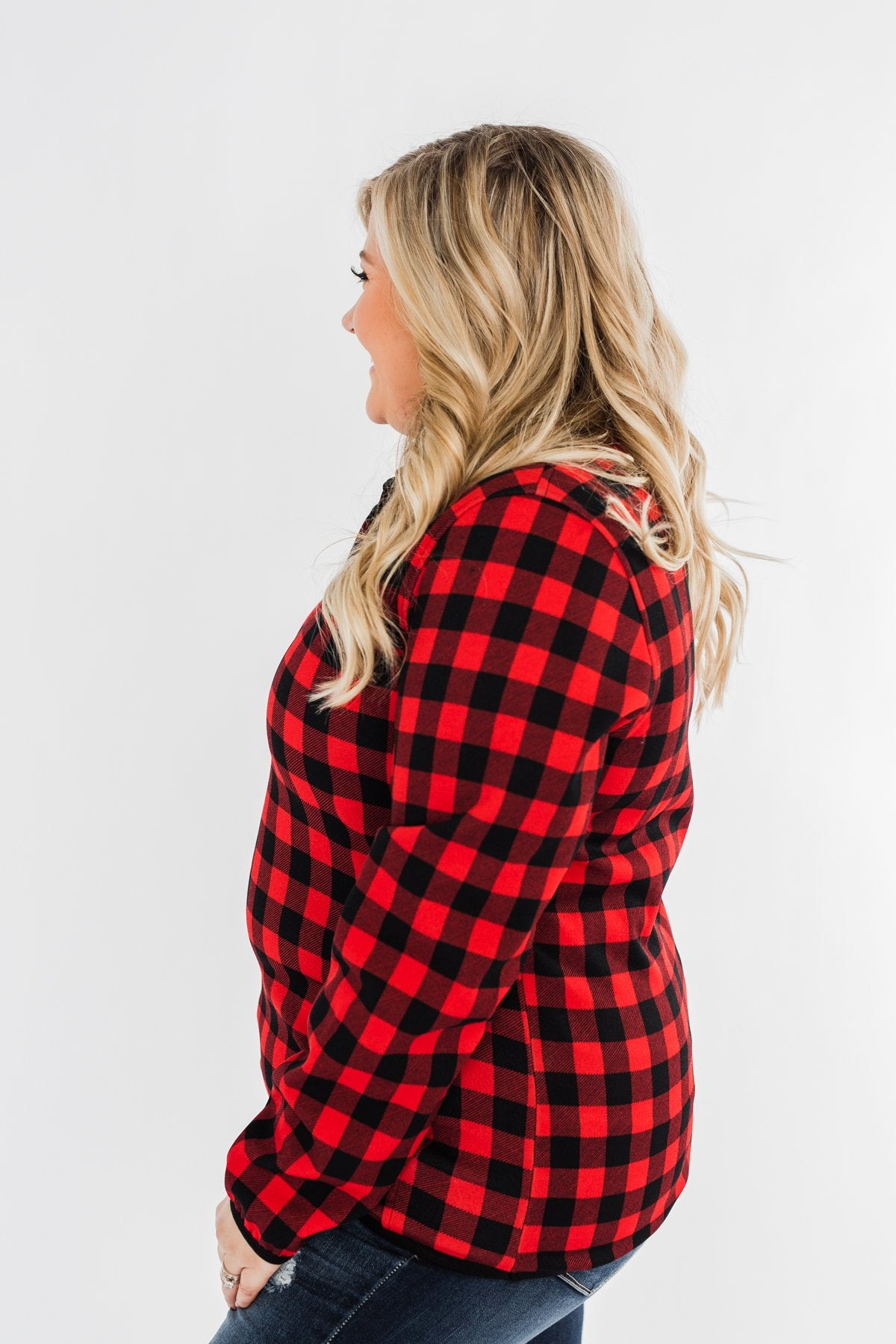 'Tis The Season 1/4 Button Pullover- Buffalo Plaid