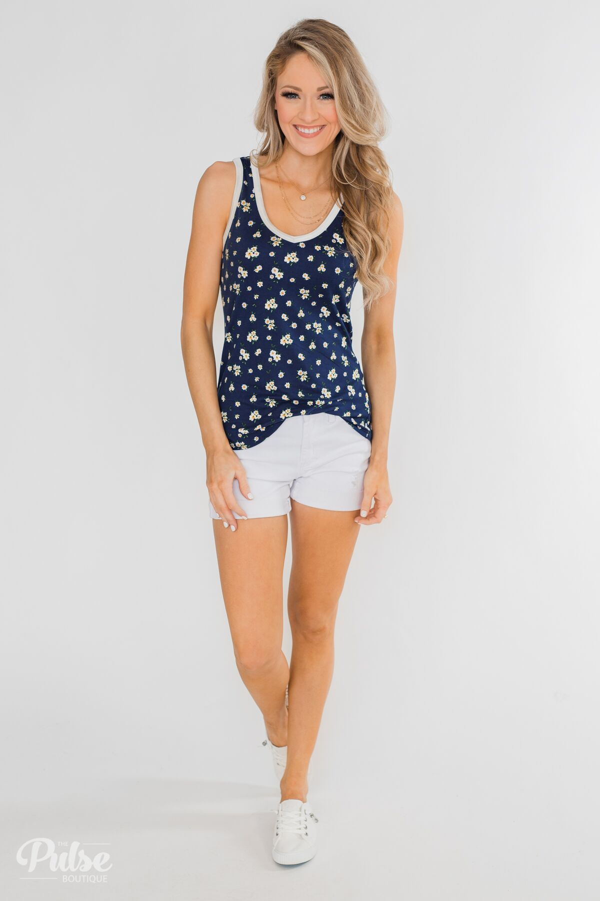 b594b2db39178 Walk Through The Wildflowers V-Neck Tank Top- Navy Outfit – The Pulse  Boutique
