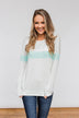 Including You & Me Long Sleeve Top- Mint