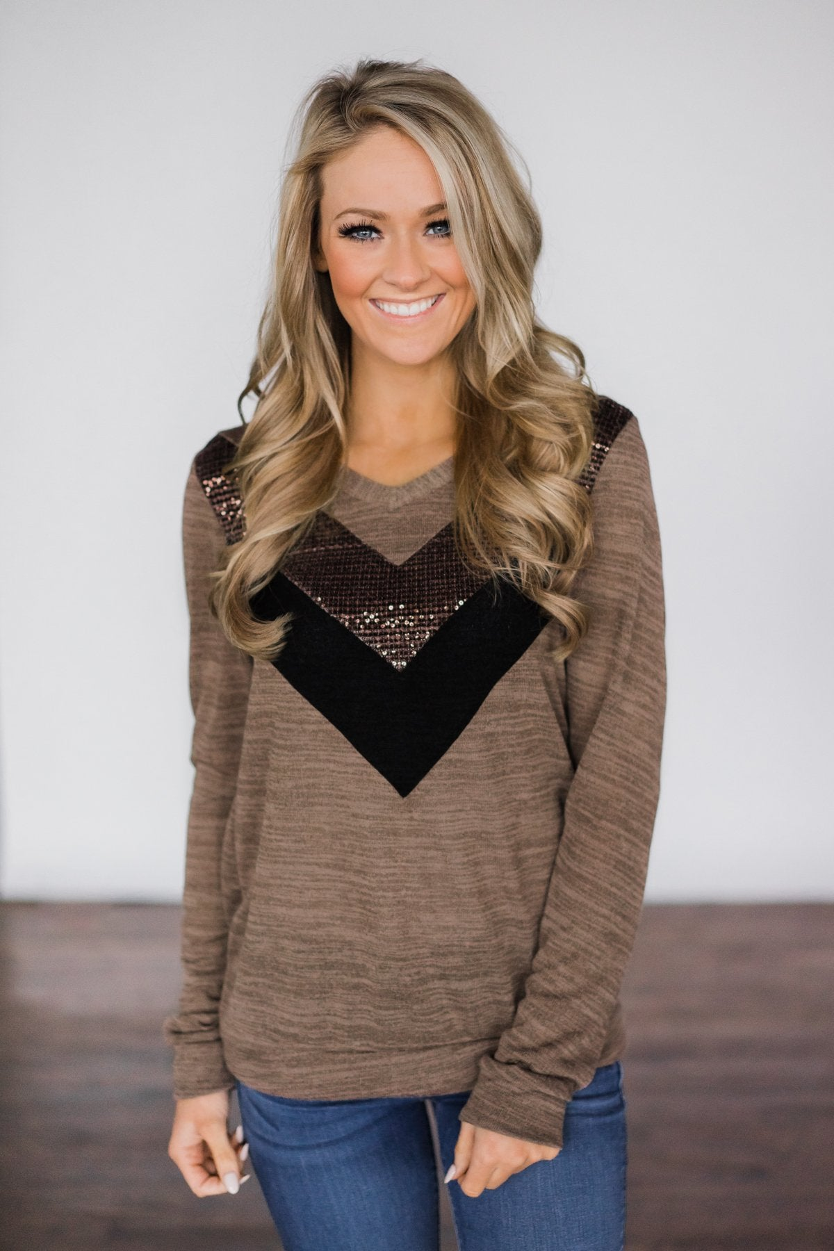 Sassy in Sequins Top ~ Mocha