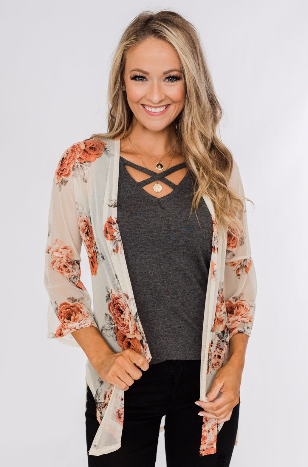 Feels Like Fall Lightweight Floral Kimono- Nude & Rust
