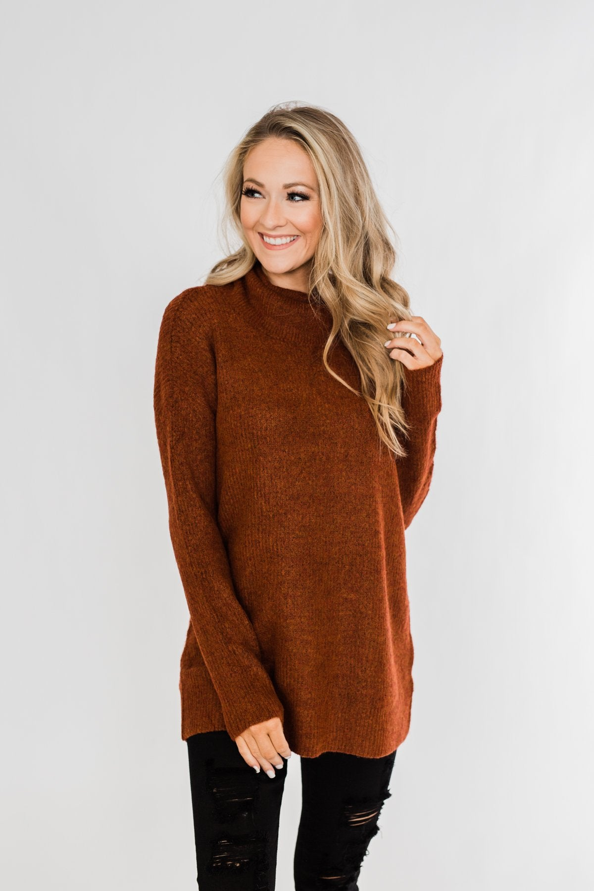 Cuddle By The Campfire Cowl Neck Sweater- Rust