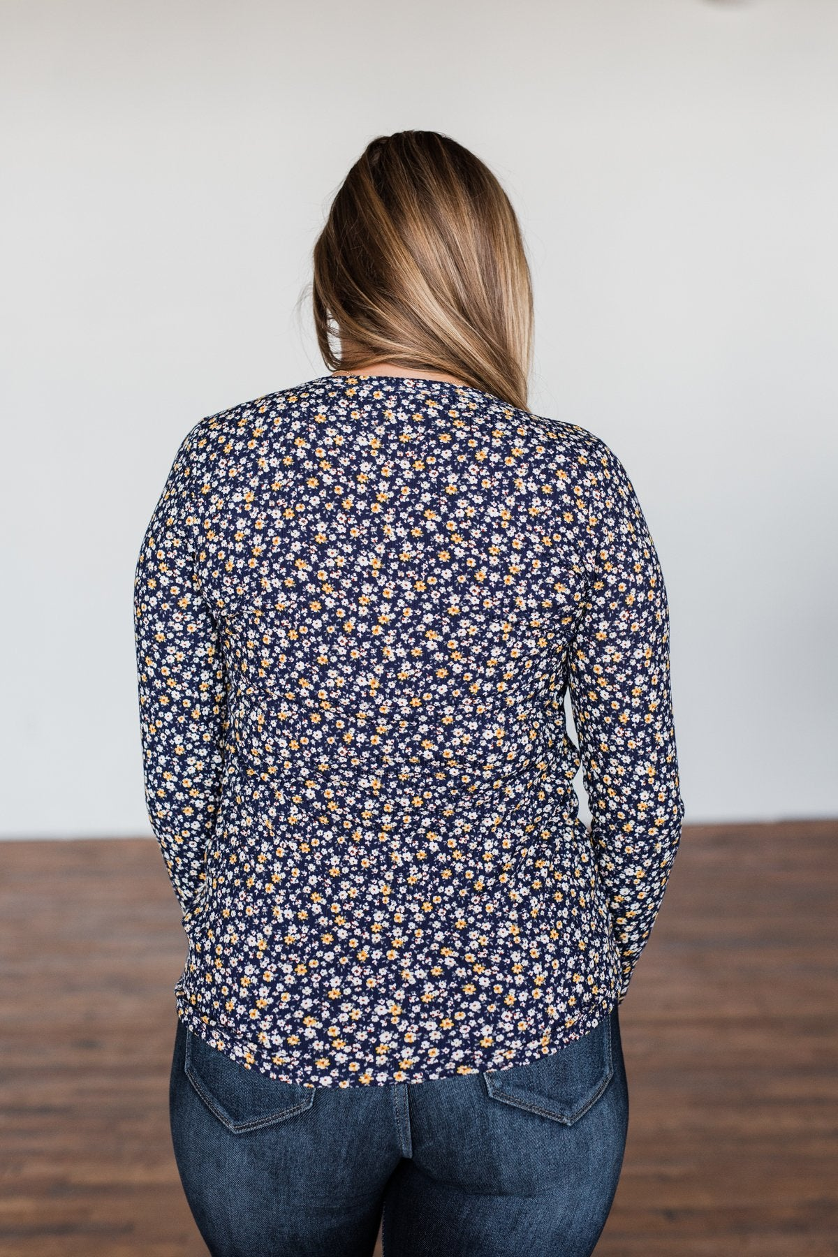 Before You Go Floral Notch Top- Navy