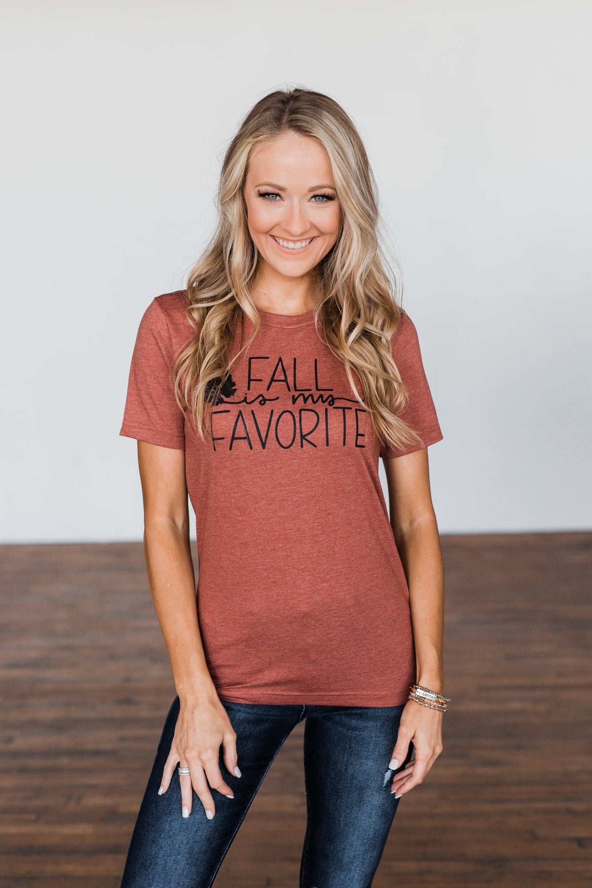 """Fall Is My Favorite"" Graphic Tee- Brick"