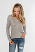 The Time Of My Life Button Henley Top- Grey