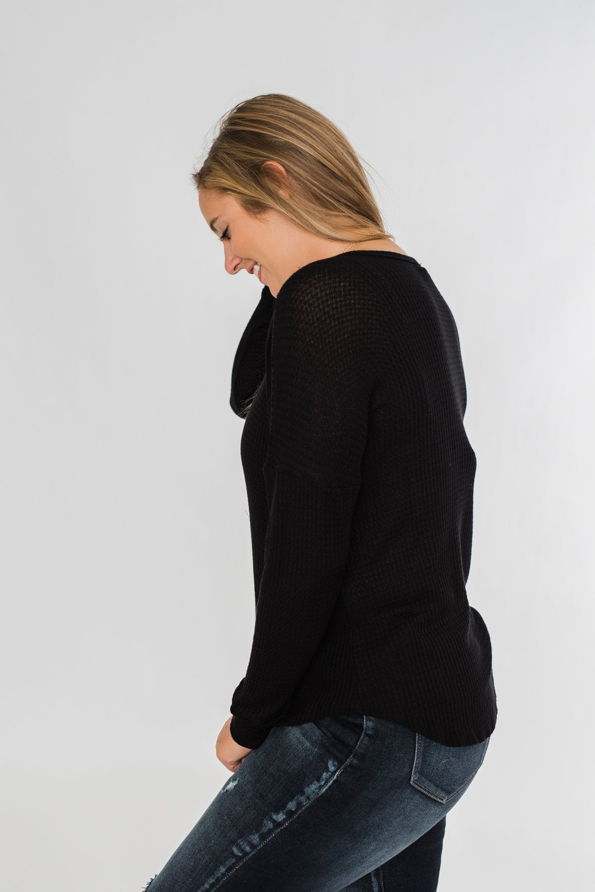 Knowing You V-Neck Thermal Top- Black