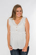 Dream of Me Sleeveless Babydoll Blouse- Off White