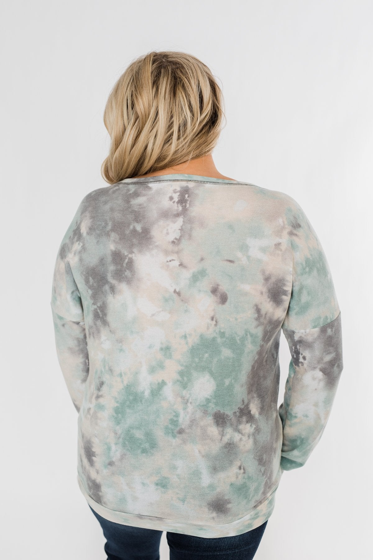 Lost In This Moment Tie Dye Pullover Top- Sage, Oatmeal, Grey