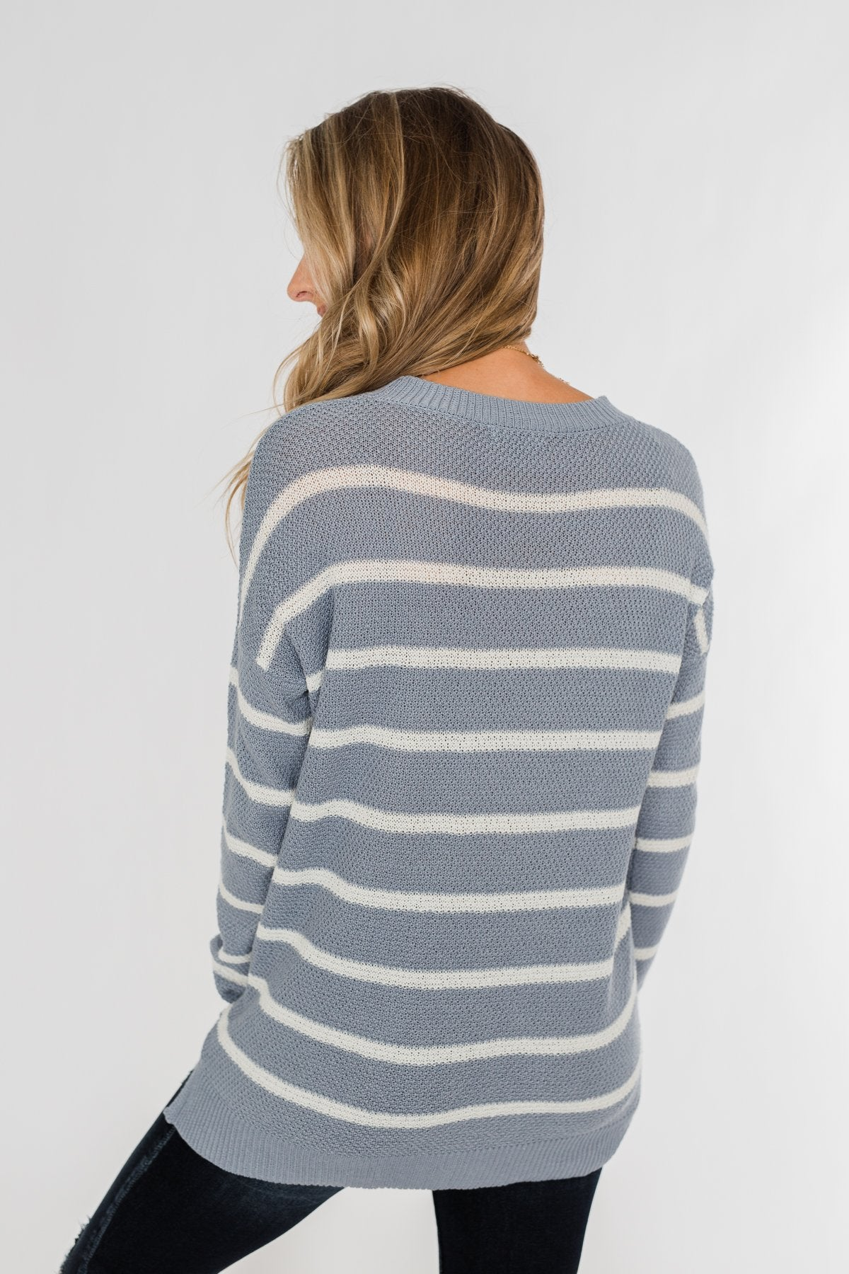 No Such Thing Striped Sweater- Periwinkle