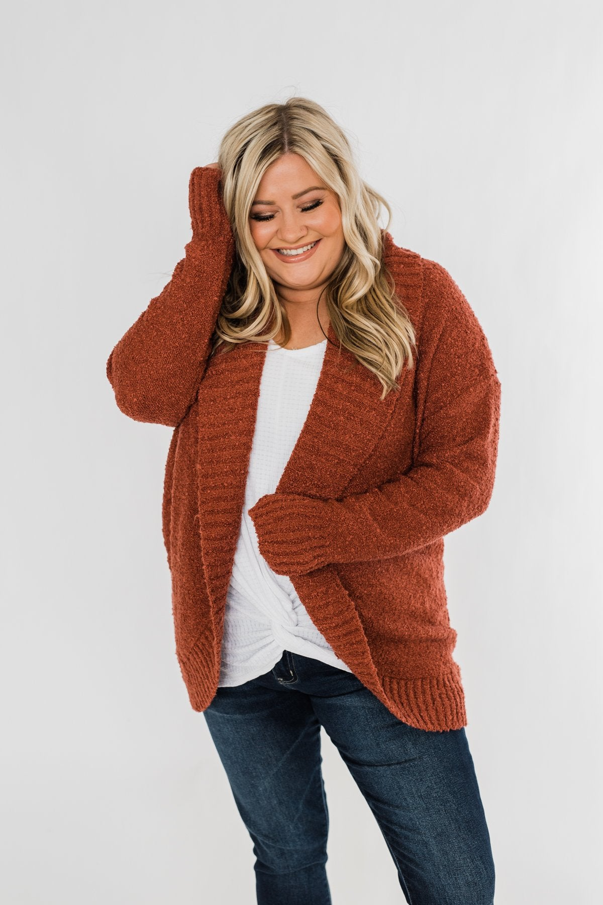 Loving My Life Thick Knit Cardigan- Rust