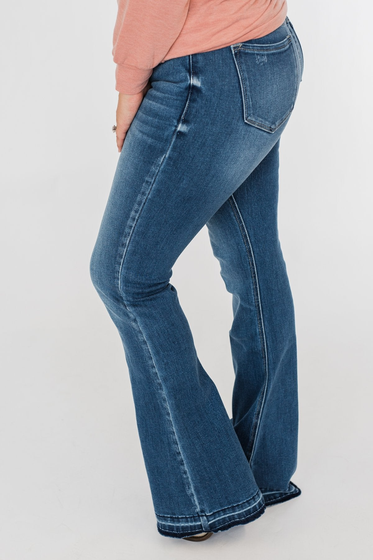KanCan Button Fly Flare Jeans- Medium Mandy Wash
