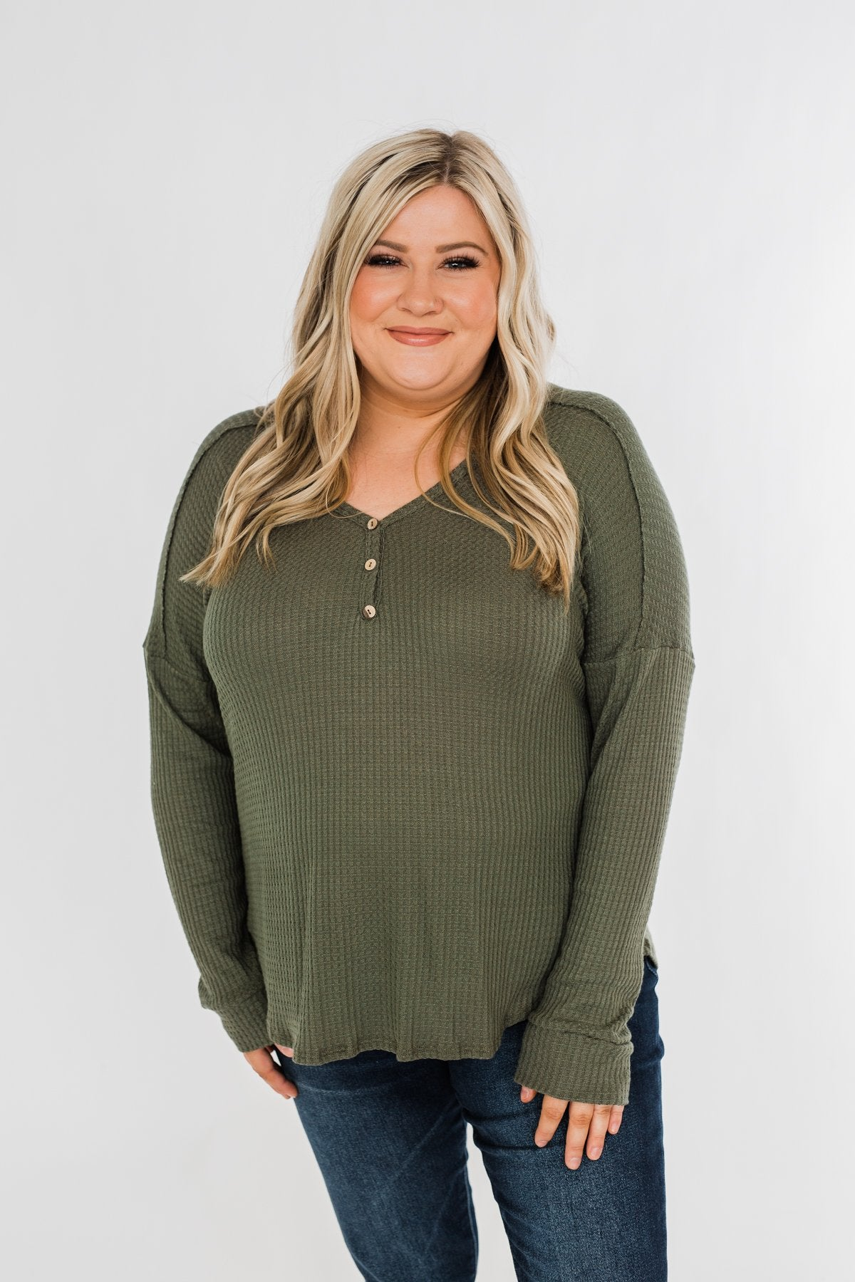 Knowing You V-Neck Thermal Top- Olive