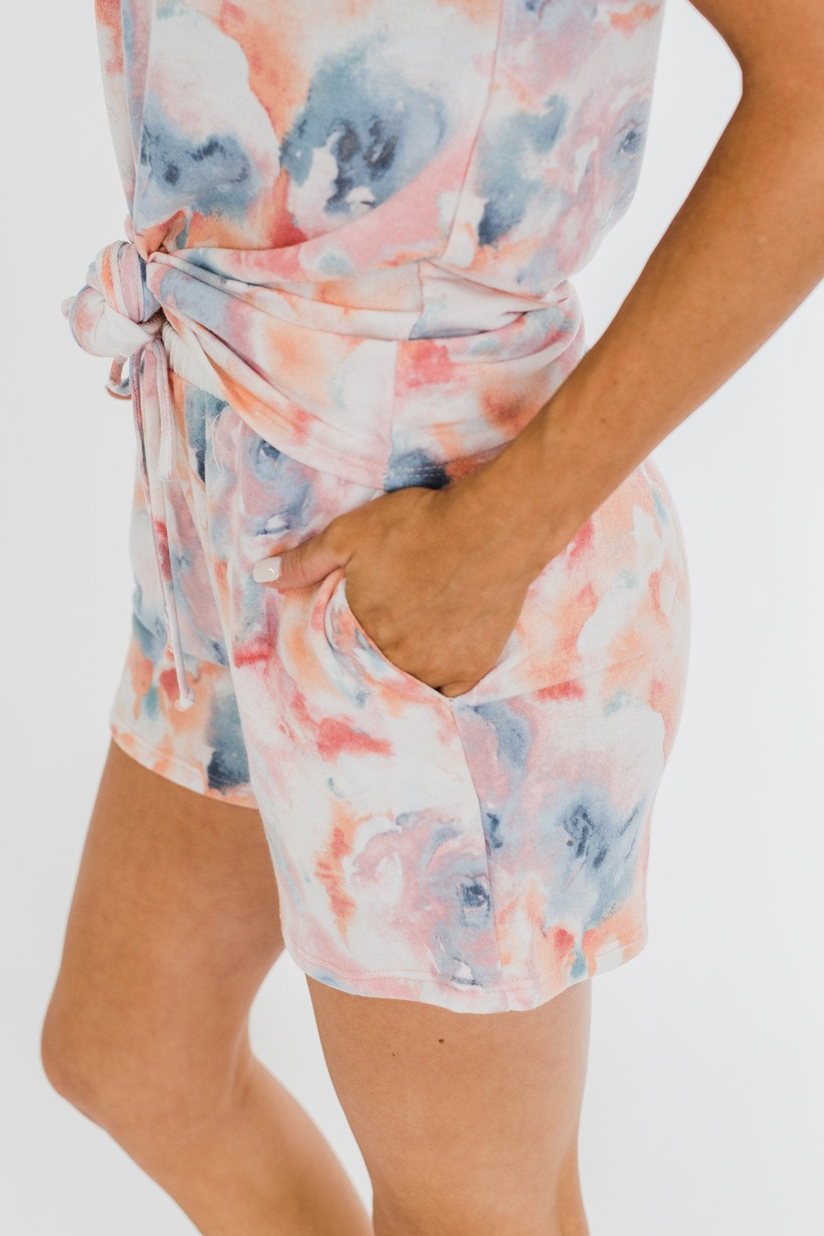 Cuddle Up Close Floral Watercolor Lounge Shorts- Pink, Peach, Blue