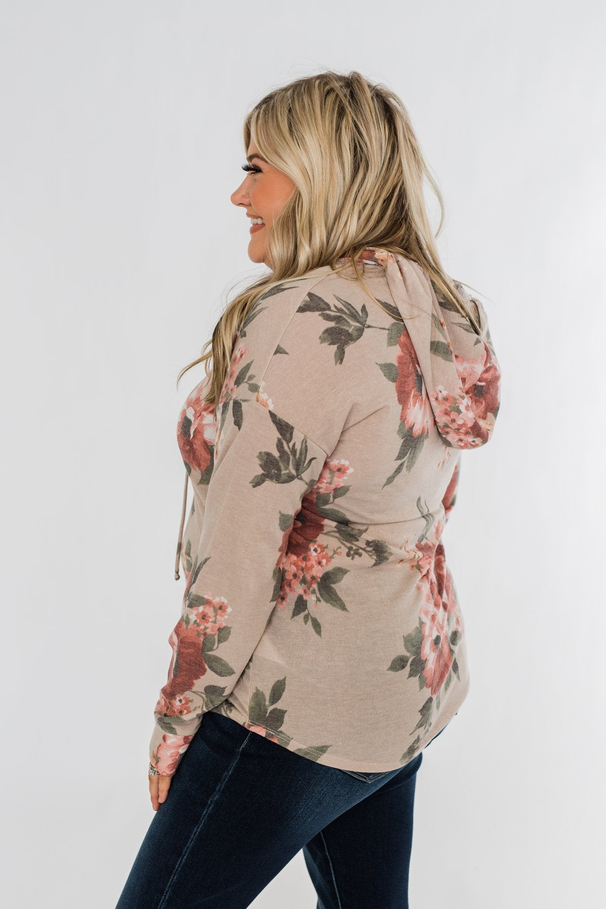 Well Wishes Floral Hoodie- Beige