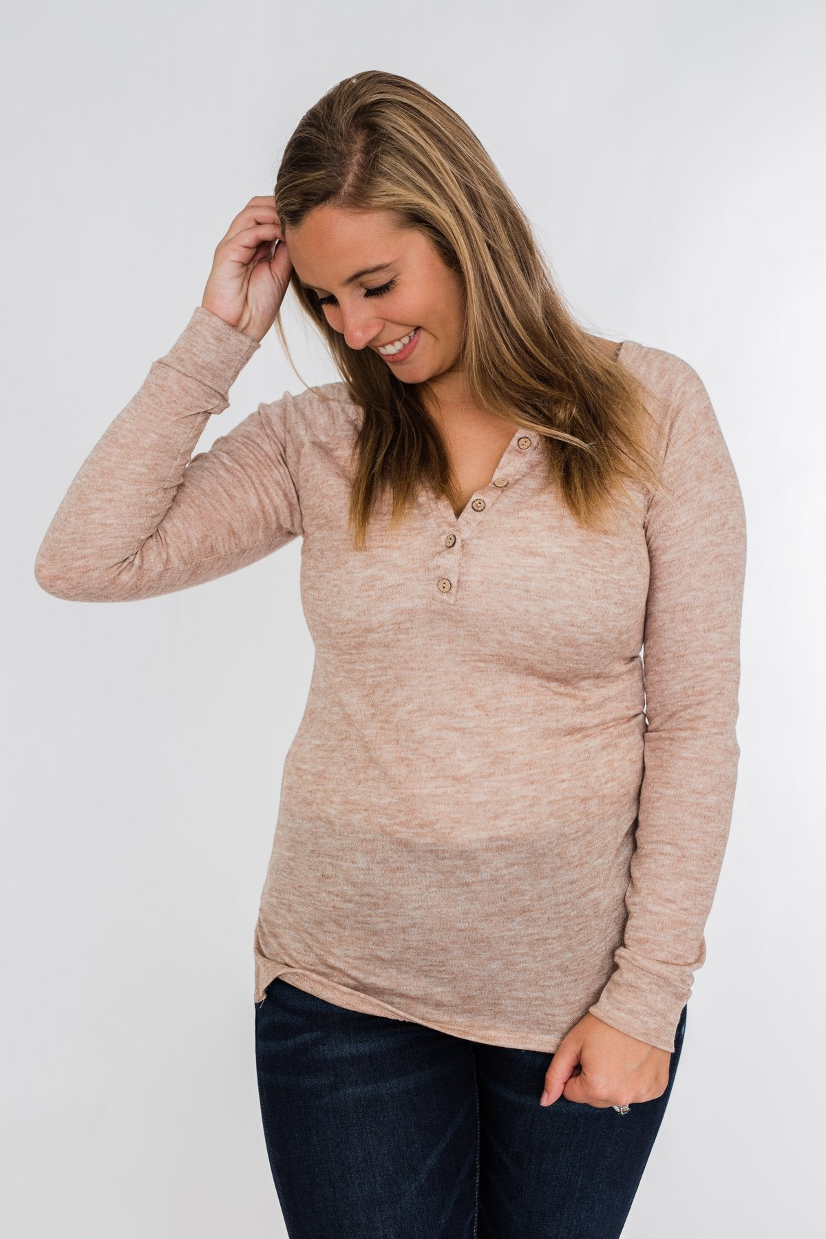 The Time Of My Life Button Henley Top- Oatmeal