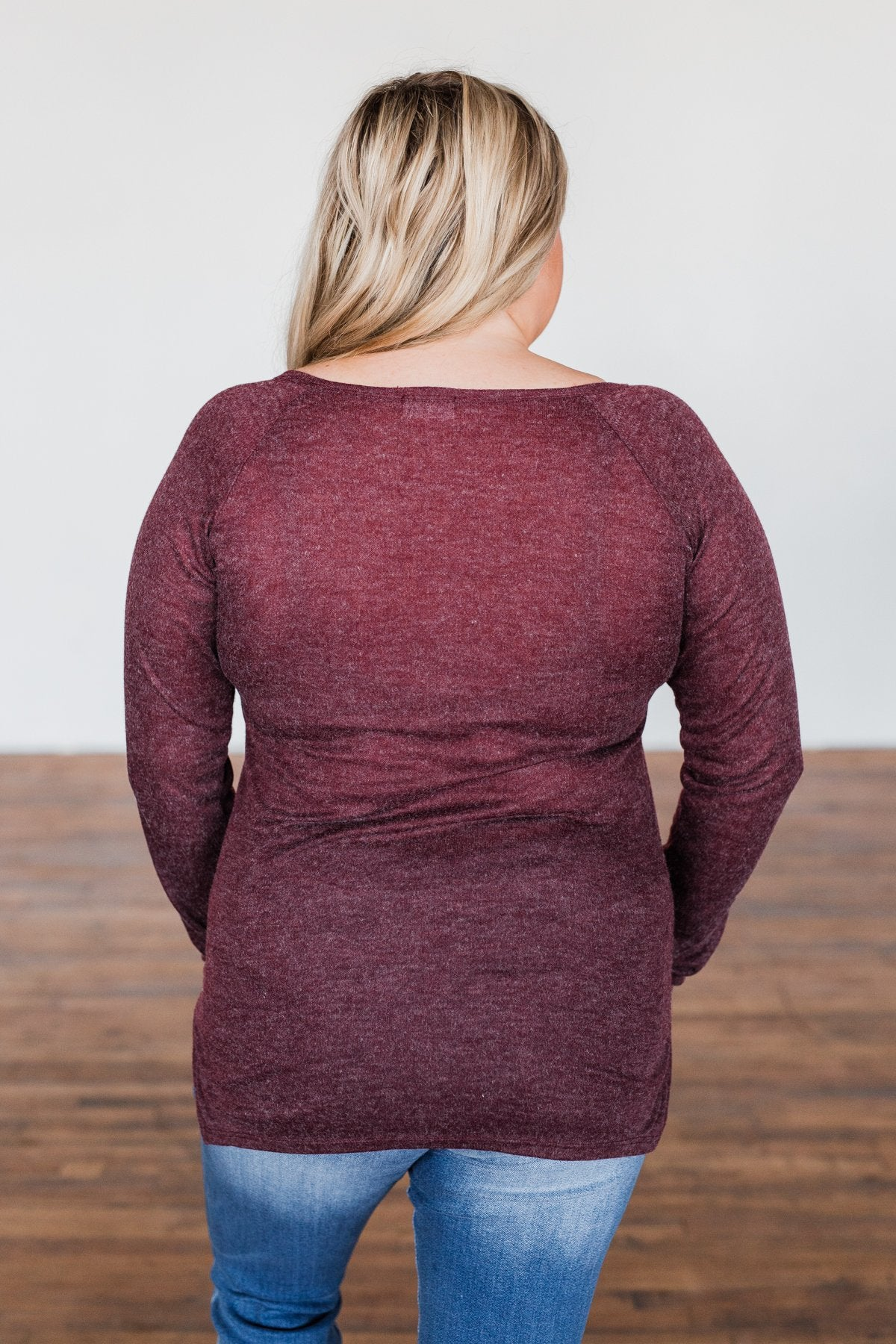 The Time Of My Life Button Henley Top- Burgundy