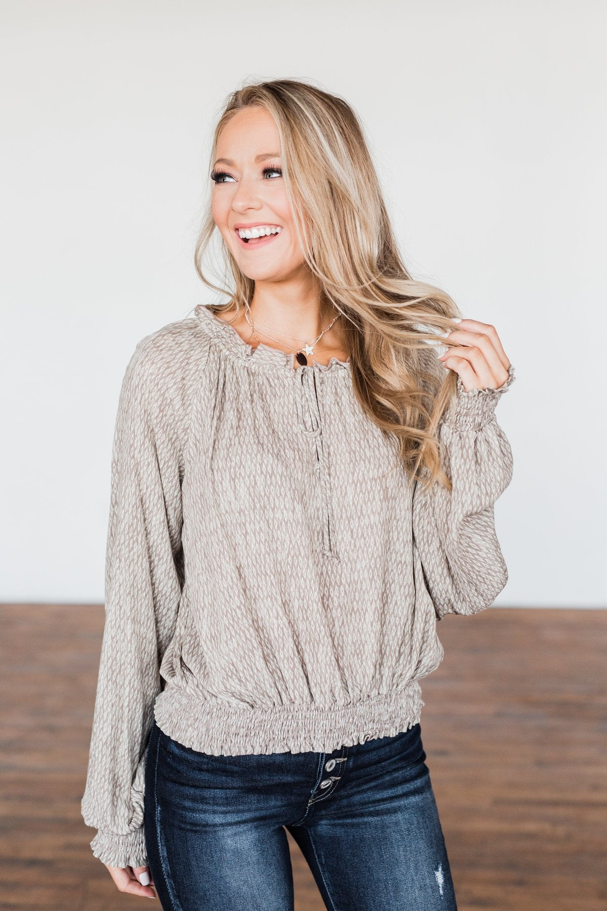 Feel The Love Long Sleeve Printed Top- Taupe & Ivory