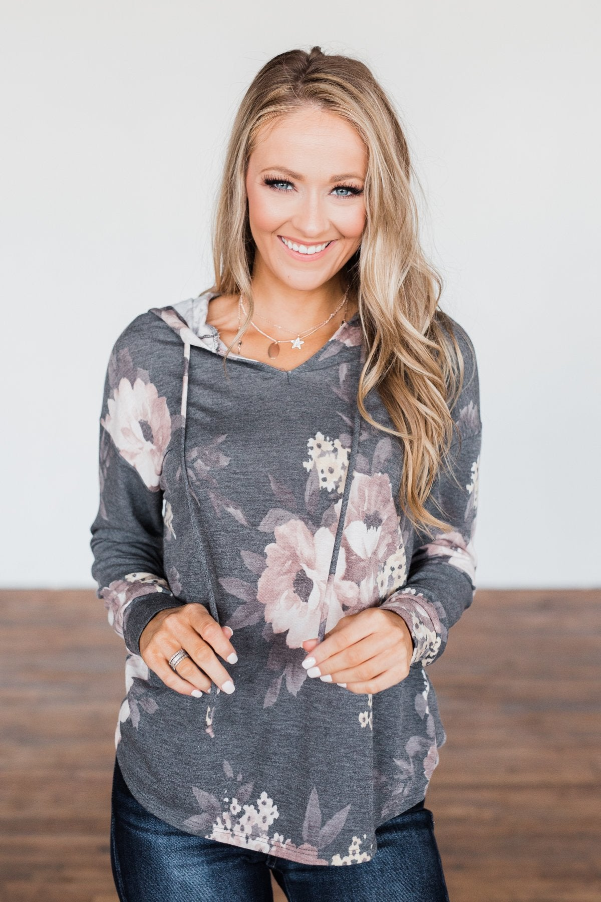 Well Wishes Floral Hoodie- Charcoal
