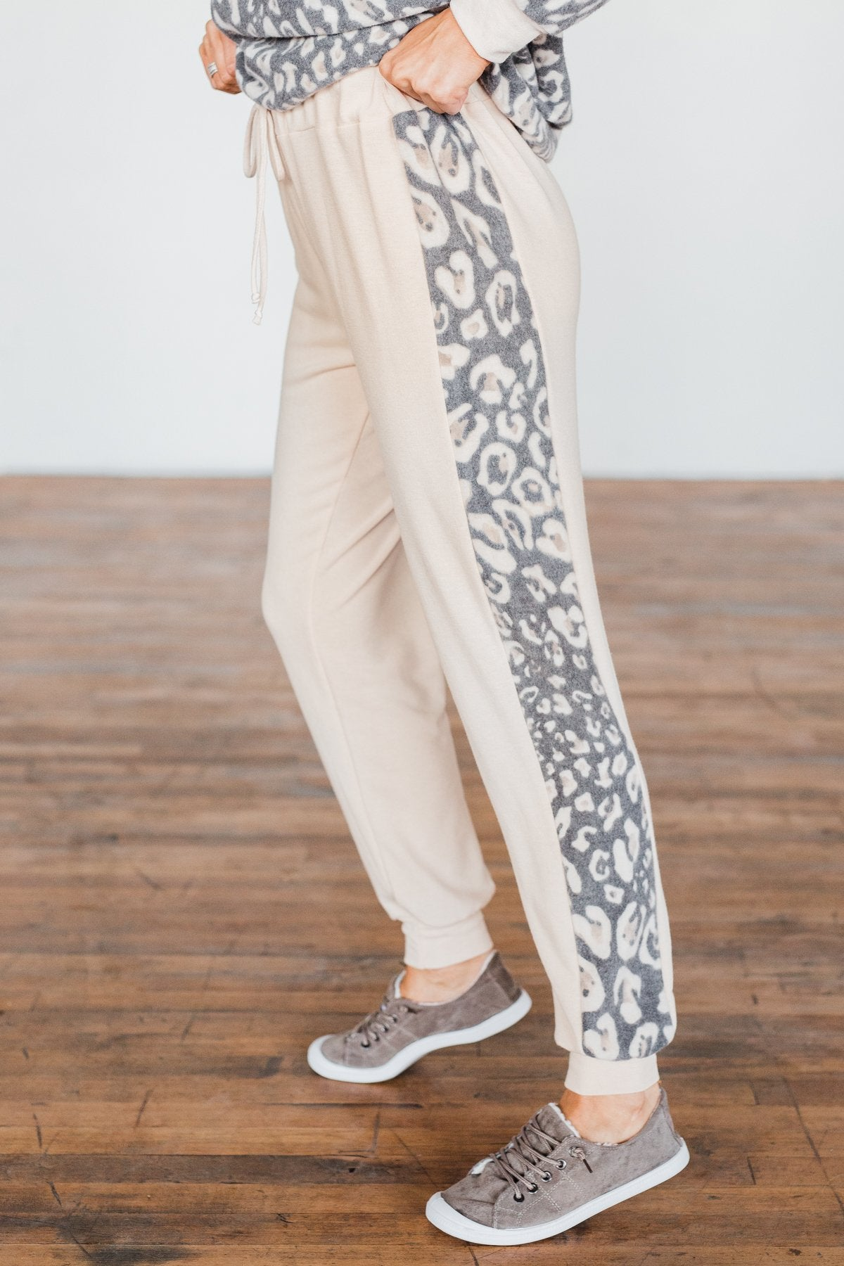 Live Wild Leopard Joggers- Beige & Charcoal