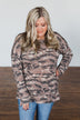 What If Long Sleeve Pullover- Brown Camo