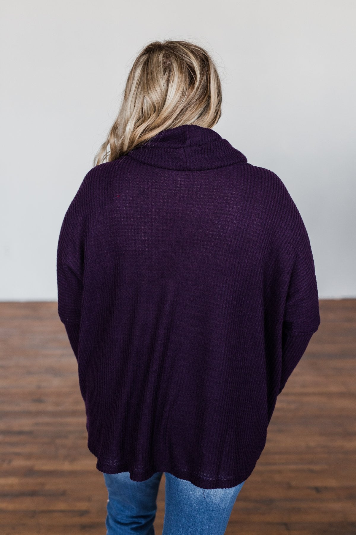 Never Let You Go Cowl Neck Sweater- Dark Eggplant