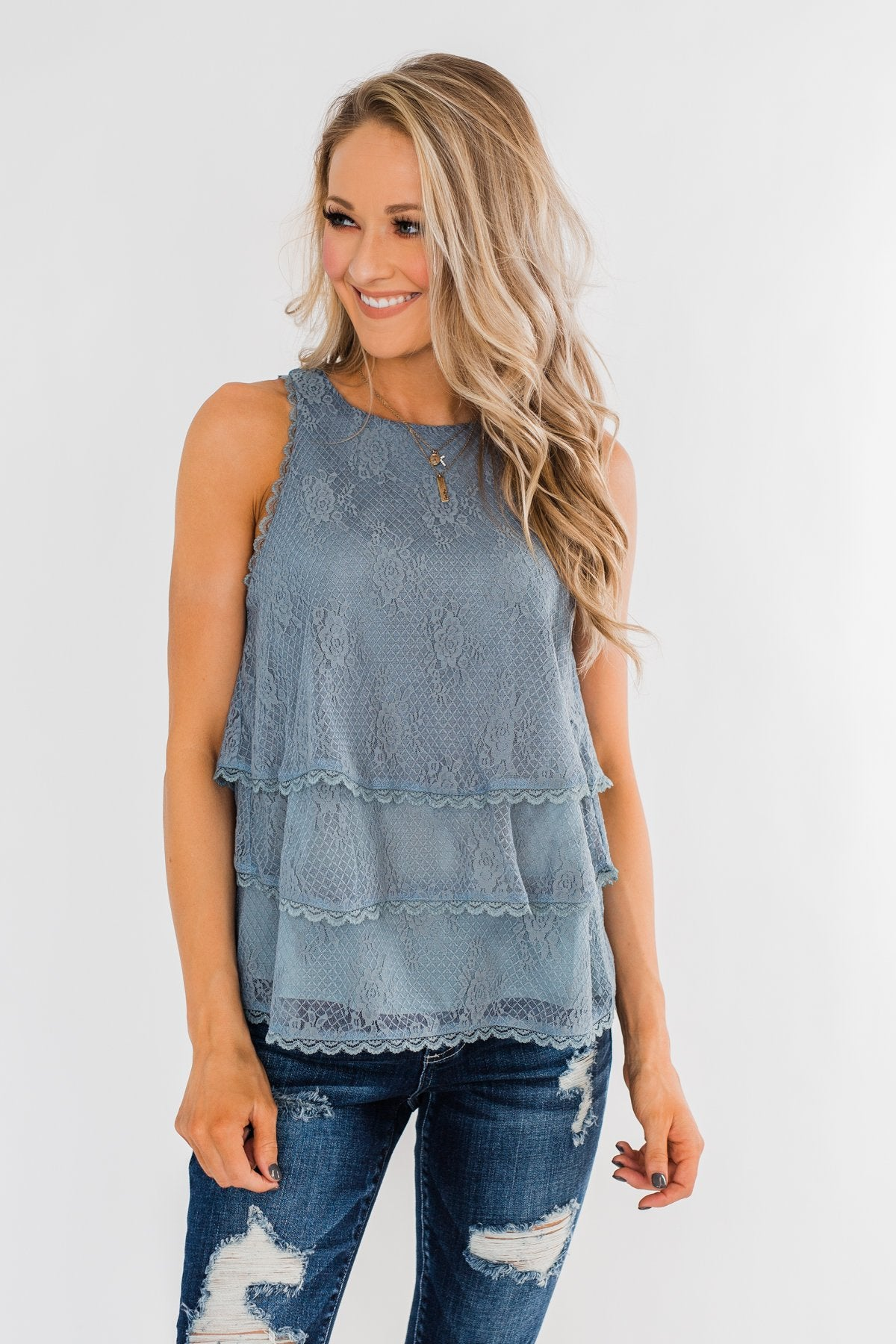 Captivating In Lace Ruffle Tank Top- Slate Blue