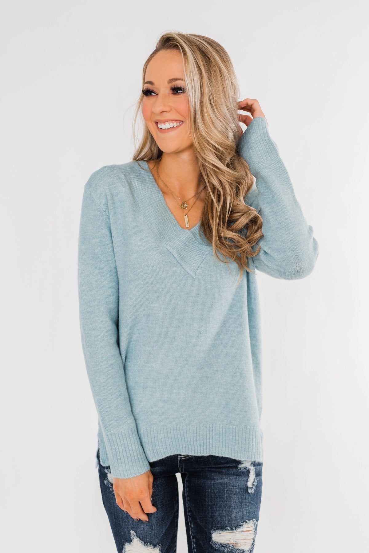 Feel This Moment V-Neck Sweater- Sky Blue