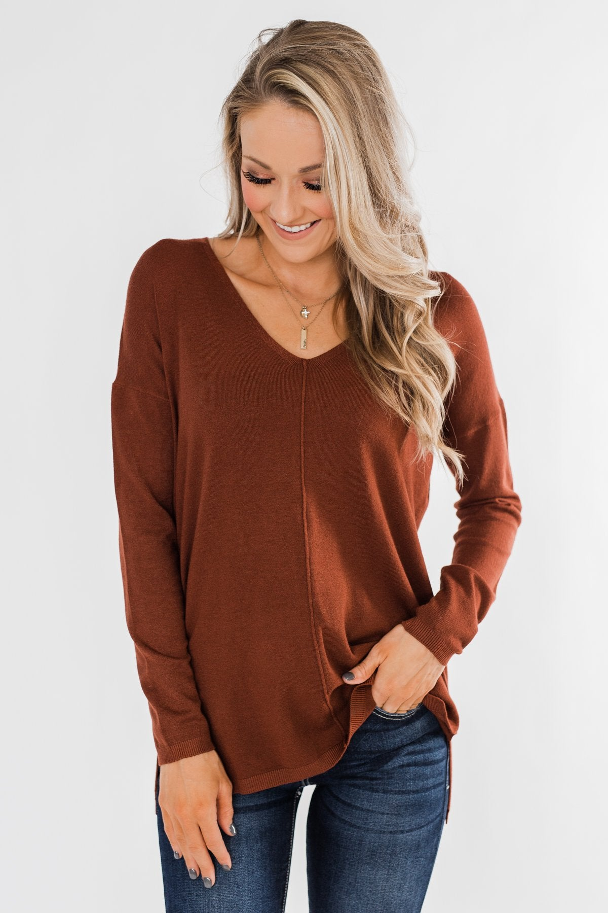 Truly Yours Sweater- Dark Rust