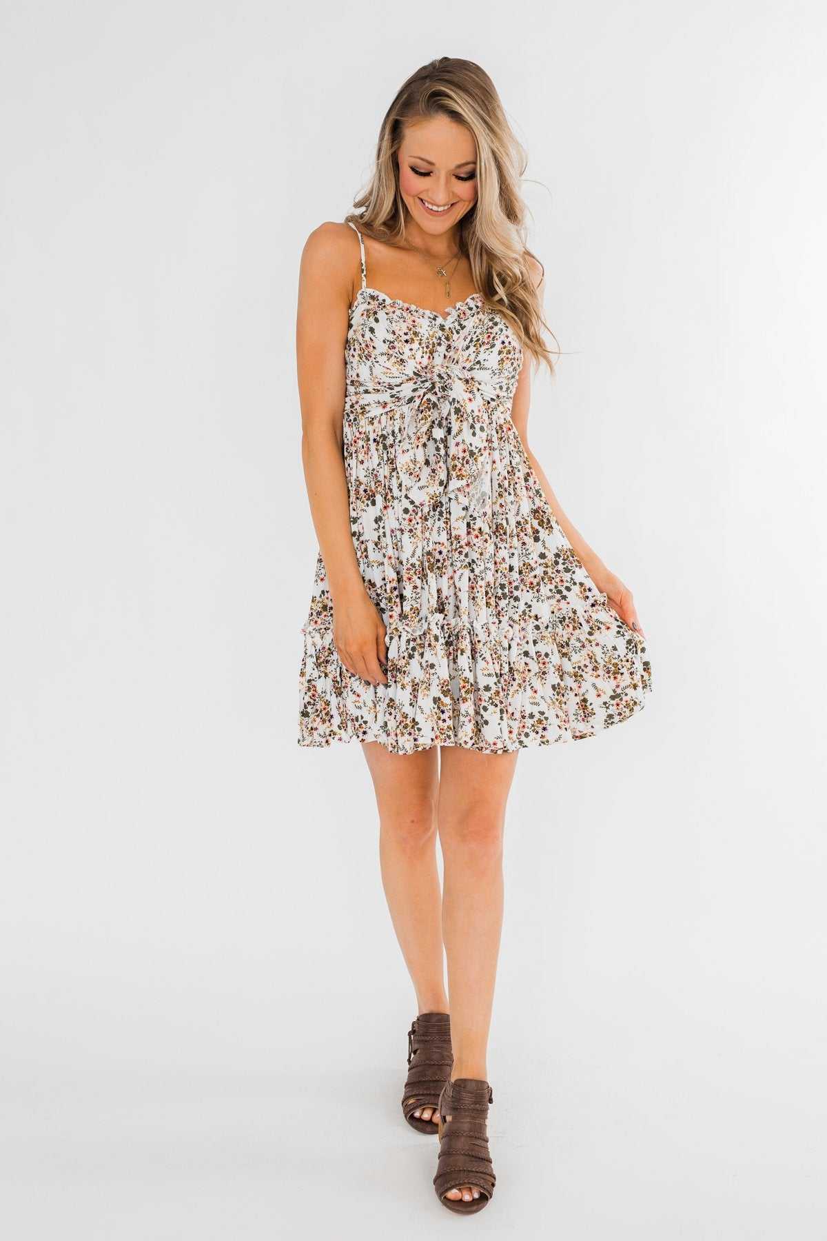 Saying Goodbye Floral Tie Dress- Ivory