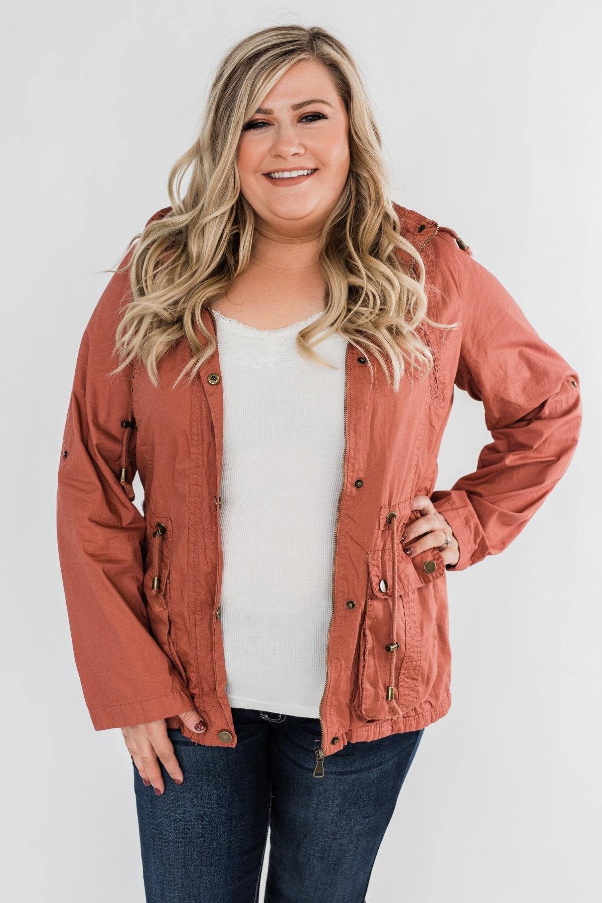 Walk With Me Cinch Jacket- Soft Rust
