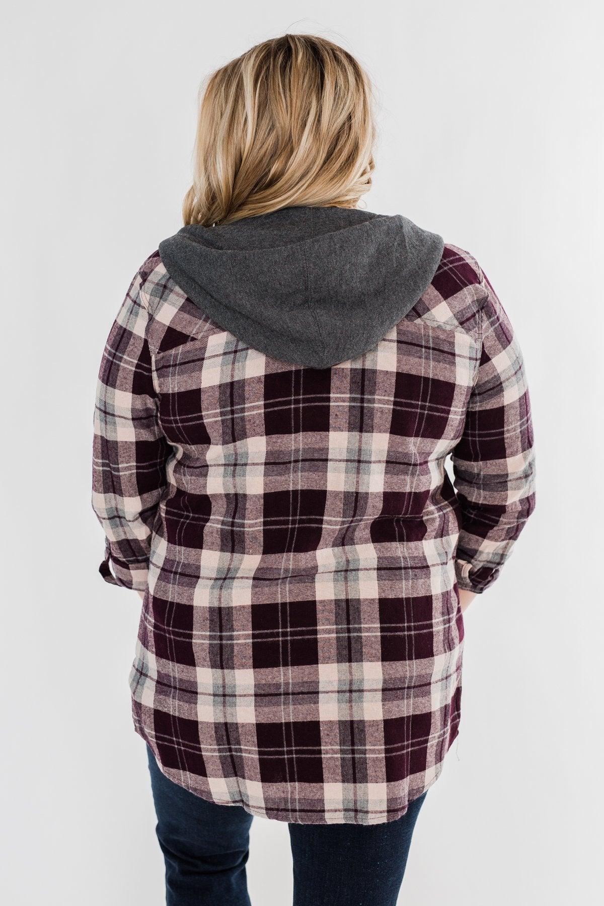 So Long To You Plaid Hooded Top- Cranberry