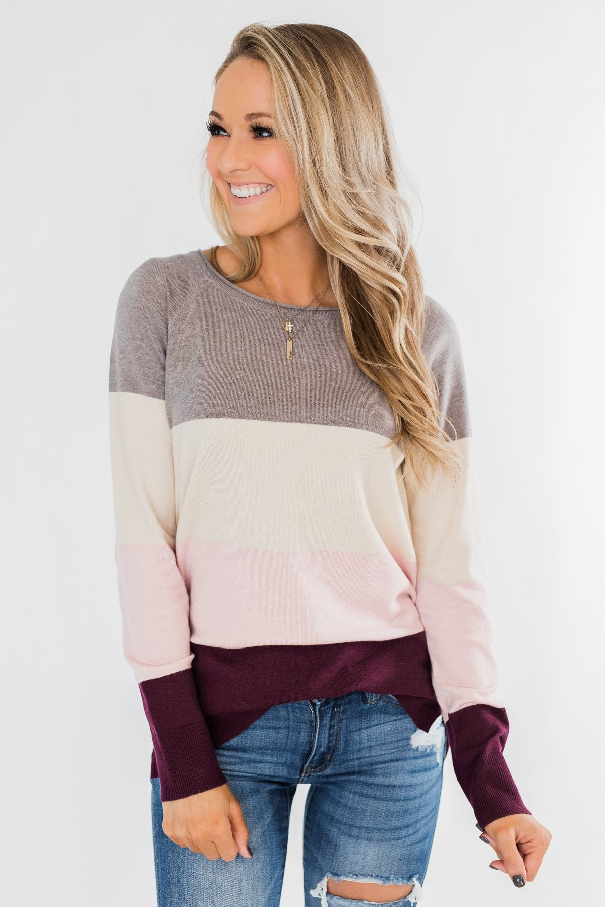 Be Yourself Color Block Sweater- Grey, Cream, & Blush