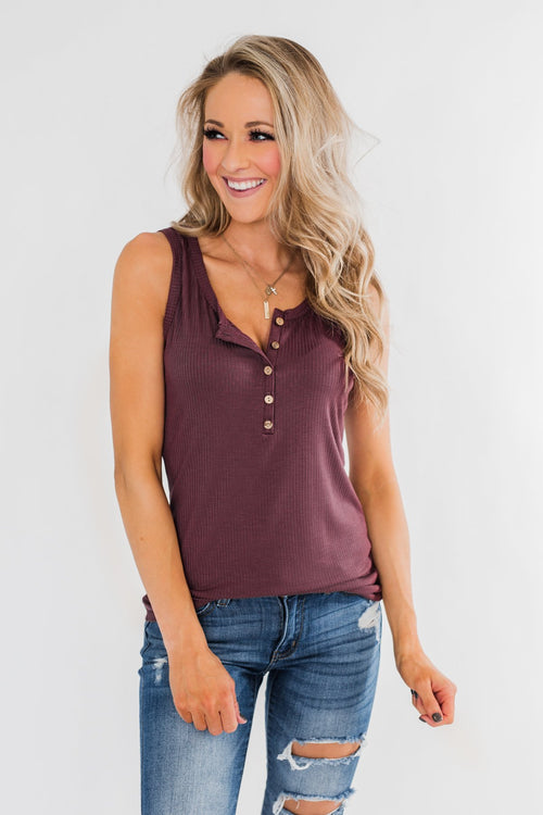 5-Button Henley Tank Top- Dark Mauve