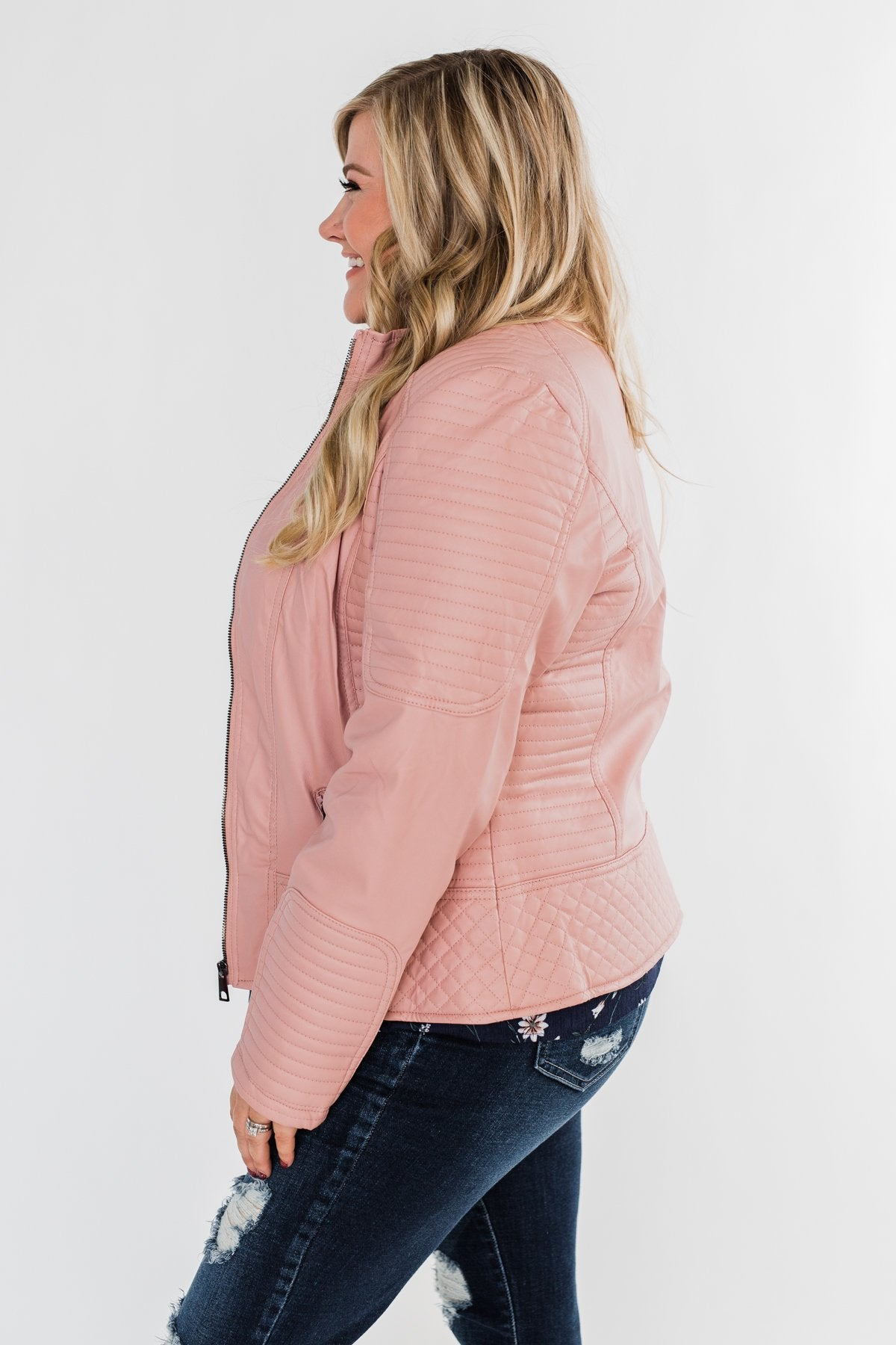 Leather Moto Jacket- Mauve Pink