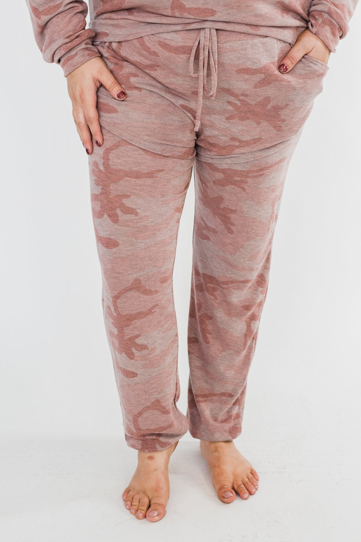 Camo Lounge Joggers- Pink & Grey