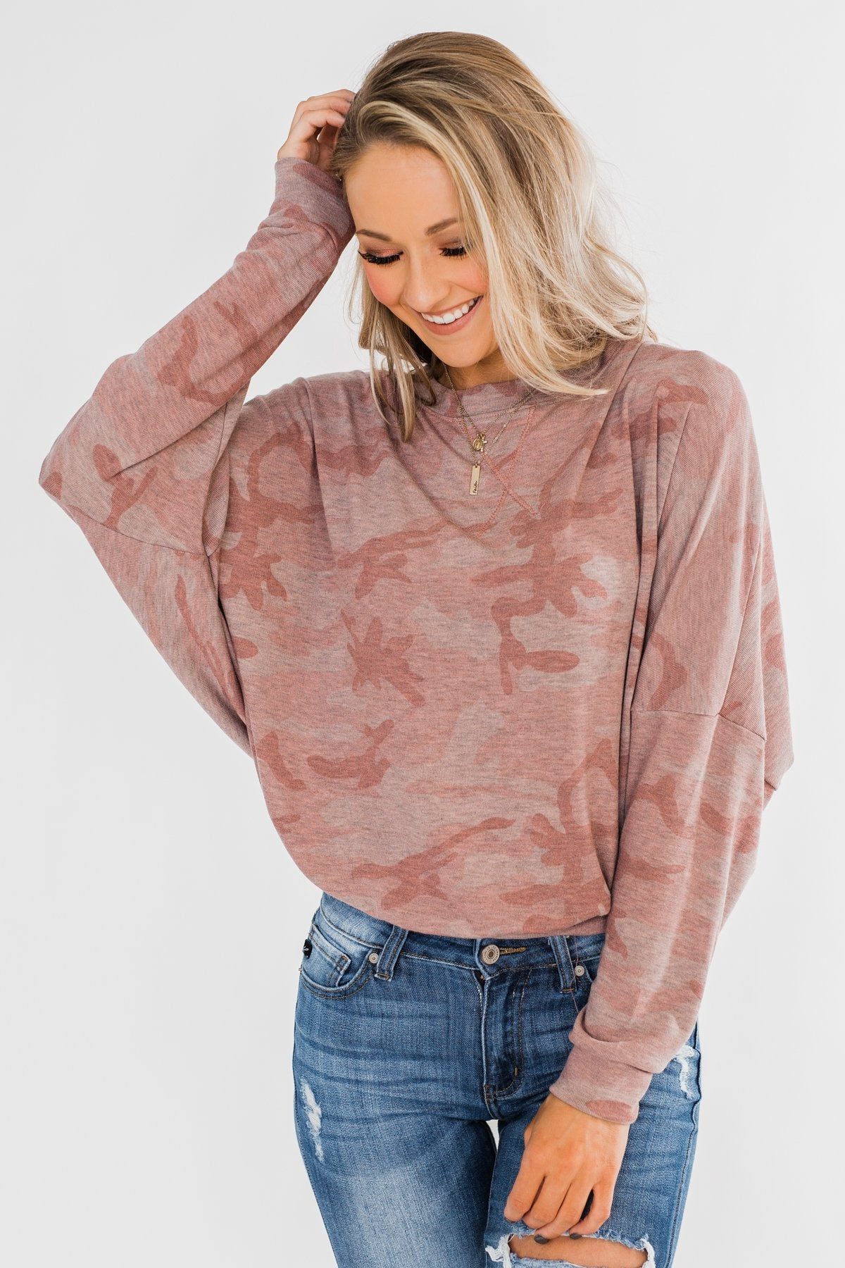 Camo Crew Neck Top- Pink & Grey