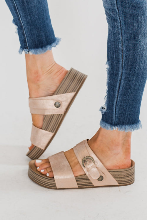 Blowfish Marge Platform Sandals- Rose Gold