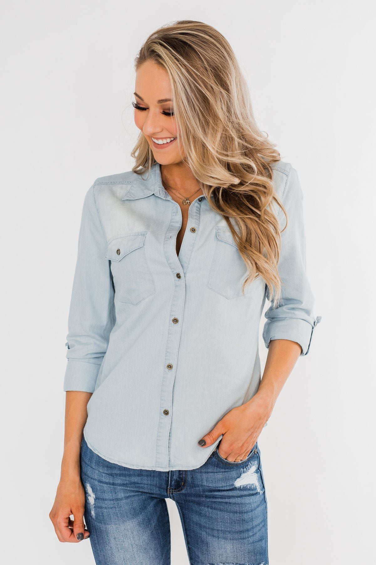 Cute In Chambray Long Sleeve Top- Light Denim