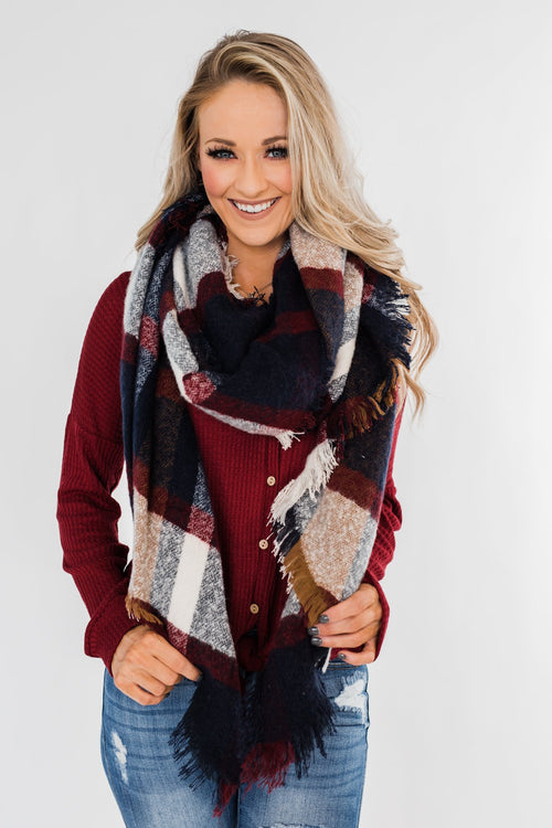 Soft & Warm Scarf- Navy & Burgundy