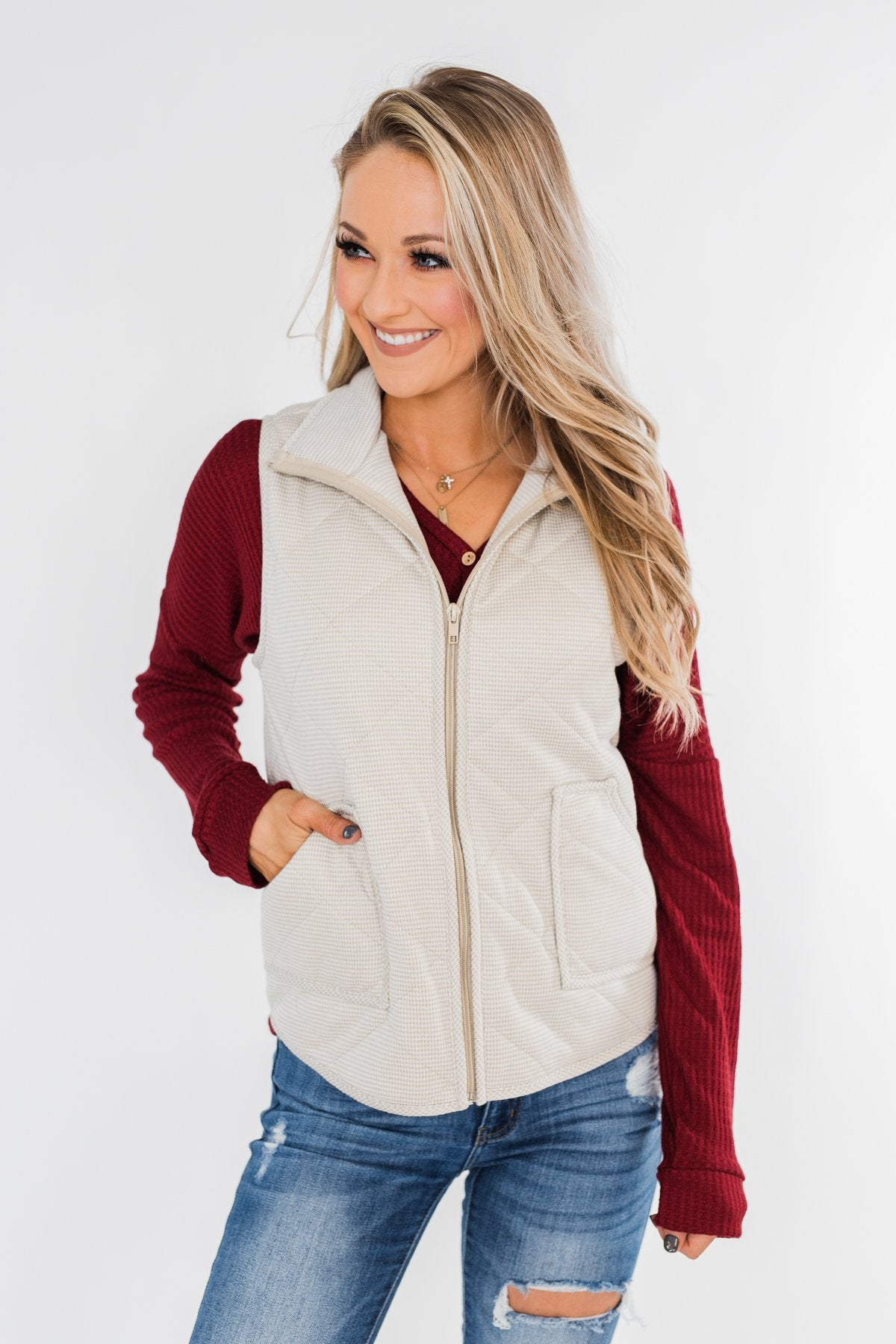 Quilted Pocket Vest- Oatmeal