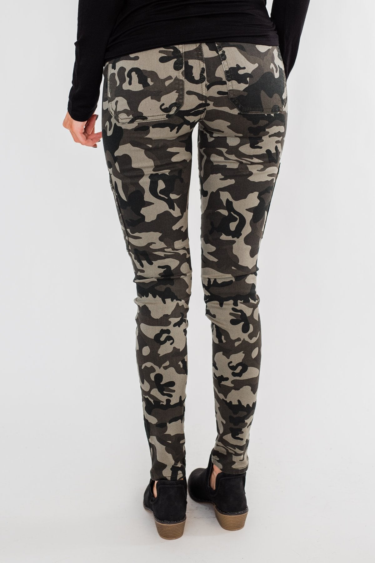Kan Can- Camo Zipper Skinny Jeans