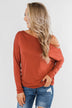 Something New Cold Shoulder Top- Soft Rust