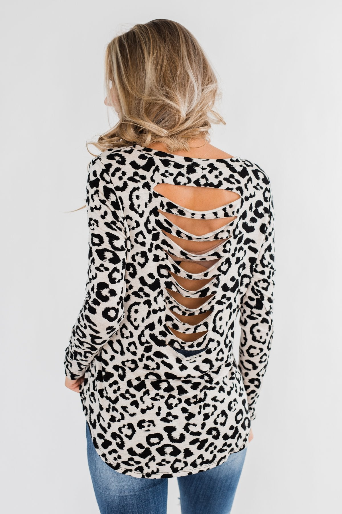 Long Sleeve Cutout Back Top- Cream & Leopard